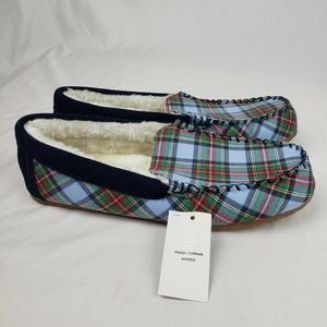 Lands End Plaid Flannel Moccasin Slippers Blue NWT